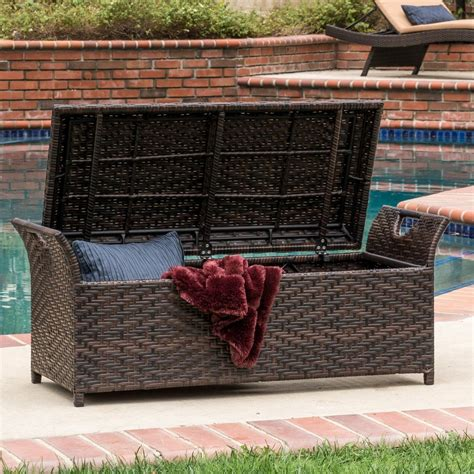 Outdoor Storage Ottoman Izidora Outdoor Brown Wicker Storage Ottoman Great Deal Furniture