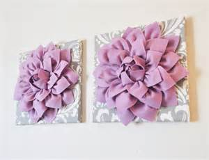 Purple Wall Decor by Two Wall Flowers Lilac Purple Dahlia On Gray And White By