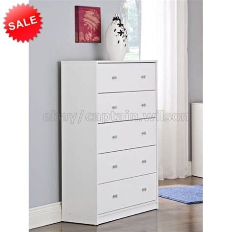 Bedroom Storage Dresser Chest 5 Drawer Modern Wood White Bedroom Dressers Chests