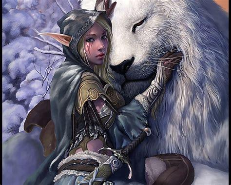 wallpaper elf girl snow elf girl with lion elf fantasy girl l 4689 hd
