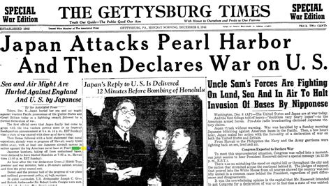 image of a newspaper of the attack on pearl harbor www h