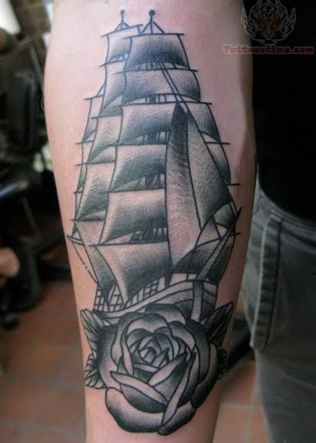 ship and rose tattoo black ink ship and