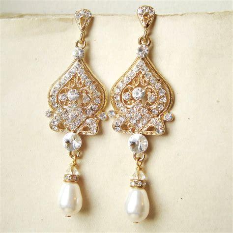 Hochzeit Ohrringe by Gold Bridal Earrings Gold Chandelier Wedding Earrings Gold