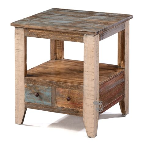 rustic pine end table ifd end and side pine rustic end table drawer multi colored