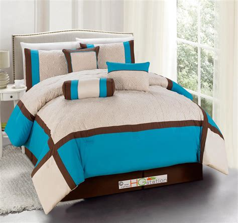 turquoise brown comforter sets 11 quilted diamond square patchwork comforter curtain set