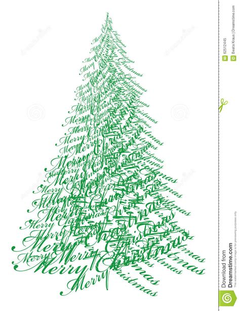 christmas tree with text vector stock vector image