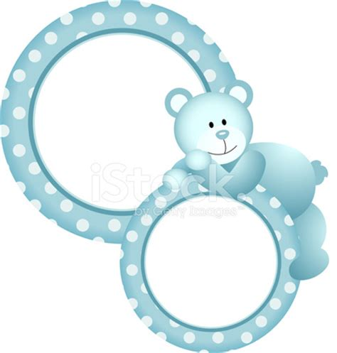 design frame baby baby boy round frame teddy bear stock vector freeimages com