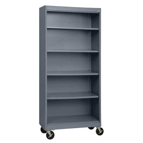 Sandusky Radius Edge Charcoal Mobile Steel Bookcase Movable Bookshelves