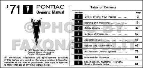 online auto repair manual 1971 pontiac gto user handbook 1971 pontiac gto and lemans owner s manual reprint