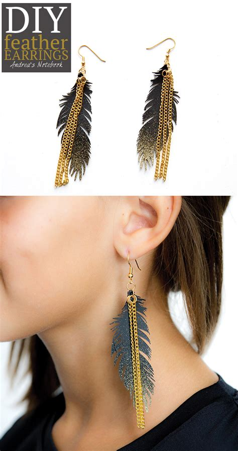 gold sparkle feather earrings andrea s notebook