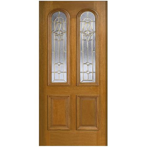 Solid Front Door Door 36 In X 80 In Mahogany Type Arch Glass Prefinished Golden Oak Beveled Brass