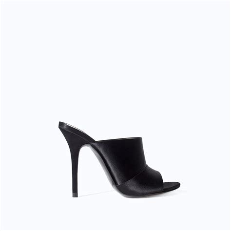 high heel slingbacks zara high heel slingback shoe in black lyst