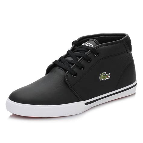 lacoste sport shoes for lacoste mens trainers thill black white leather lace up
