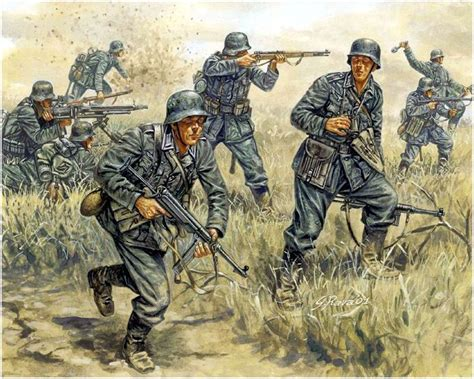 infantera al ataque infanter 237 a al ataque pinturas guerreras guerra segunda guerra mundial y caballeros