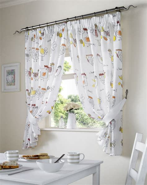 chickens white kitchen net curtains ready made pencil