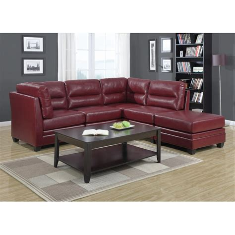 5 piece sectional sofa monarch 5 piece modular sectional sofa sectionals in red