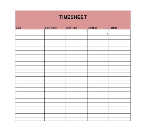 time card template microsoft word 41 free timesheet time card templates free template