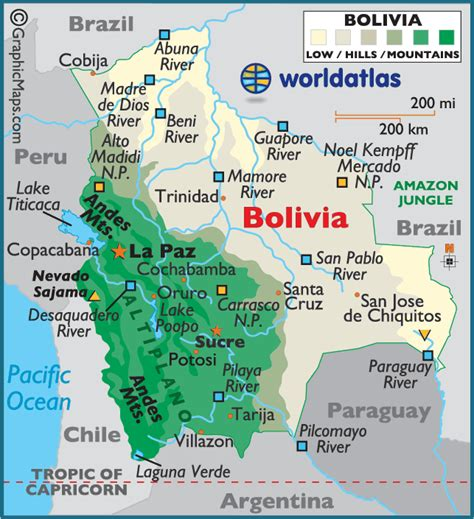 map of bolivia bolivia large color map