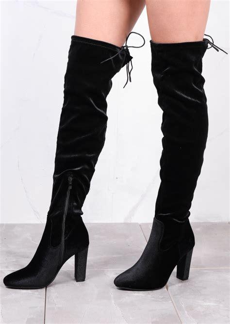 high the knee tie back boots velvet black