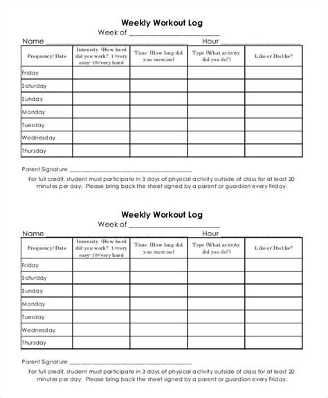 free printable exercise log and blank exercise log template blank workout log template eoua blog