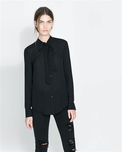 Blouse Zhara zara silk blouse with bow in black lyst