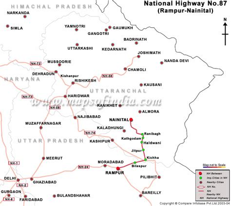 road map direction driving national highway 87 nh 87 road map from rur to nainital