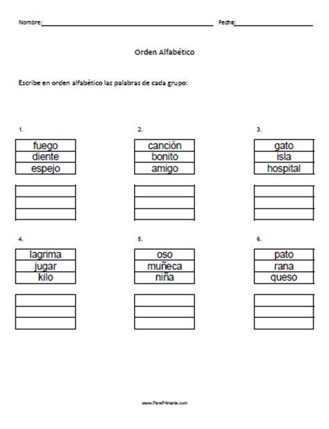 imagenes en ingles en orden alfabetico ejercicios de orden alfab 233 tico para primaria castellano