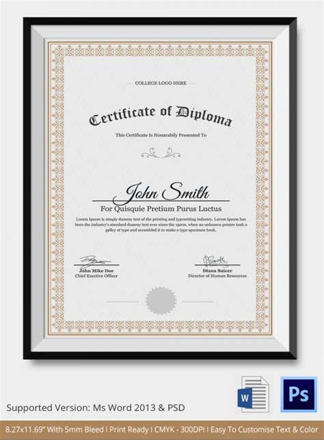 templates of certificates and diplomas diploma certificate template 26 free word pdf psd