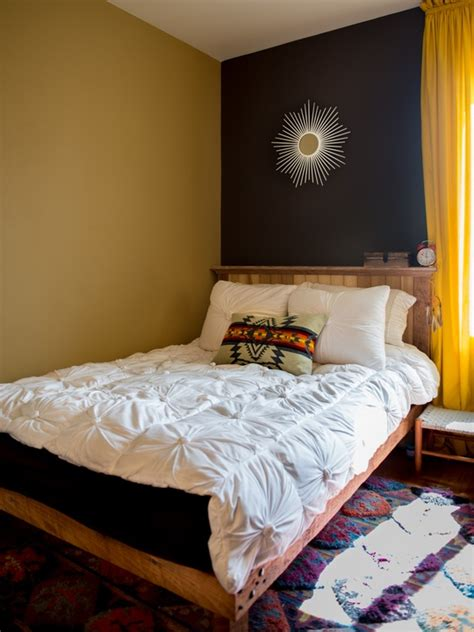 bedroom solution navy mustard bed   wall