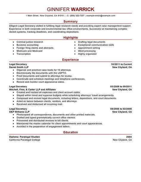Resume Format Pdf For Ca by Best Legal Secretary Resume Example Livecareer