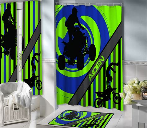 motocross shower curtain kids lime green dirt bike boys shower curtain with
