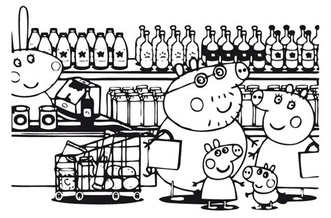 The Pig Coloring Pages Peppa Pig E Famiglia Al Supermercato Disegno Da Colorare by The Pig Coloring Pages
