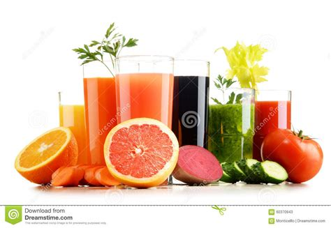 Fresh Fruit Detox Diet by Glasses With Fresh Organic Vegetable And Fruit Juices On