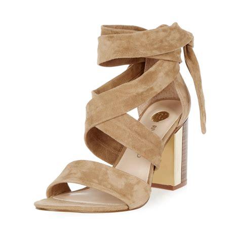 suede heeled sandals lyst river island camel suede wrap block mid heel