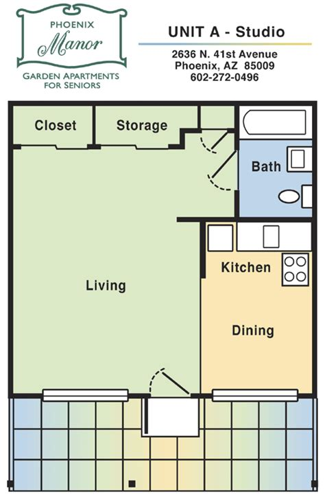 studio apt floor plan phoenix manor apartments unit a studio