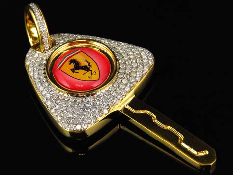 Mens Solid 10k Yellow Gold Ferrari Key Pendant 2 5