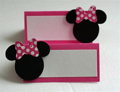 minnie mouse card table 12 pink minnie mouse inspired placecards food table cards