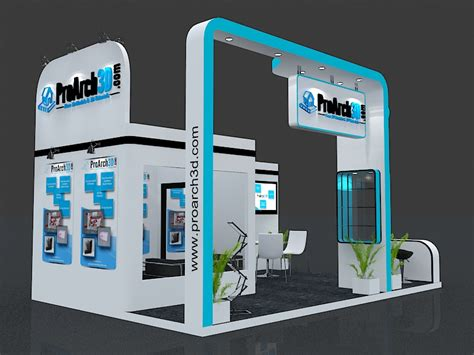 3d booth design tutorial exhibition stall 3d model 6x4 3 sides open proarch3d com