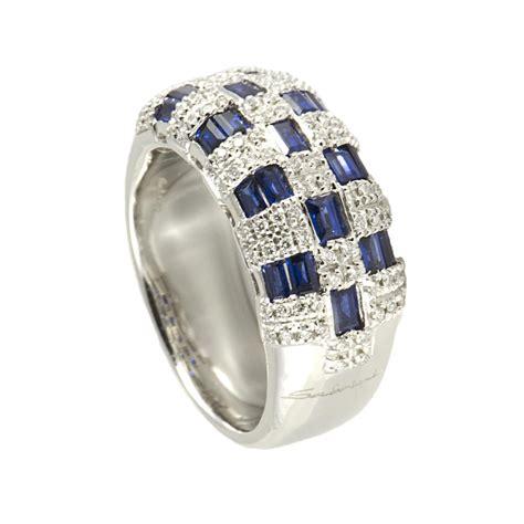 anelli pave anello pave in oro bianco con diamanti e zaffiri mis 16