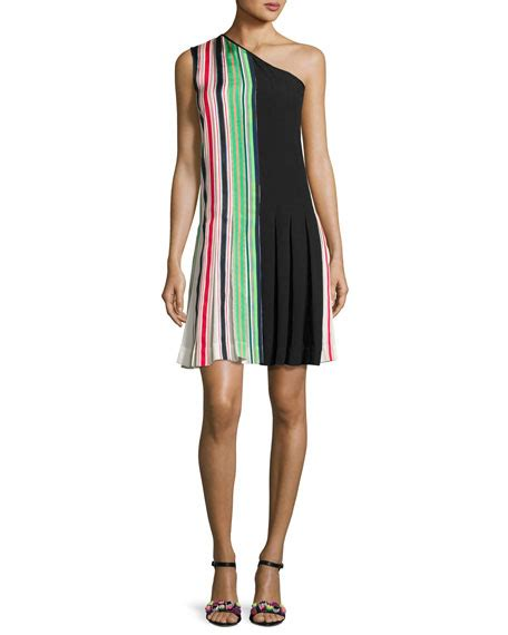 diane furstenberg one shoulder pleated ribbon dress