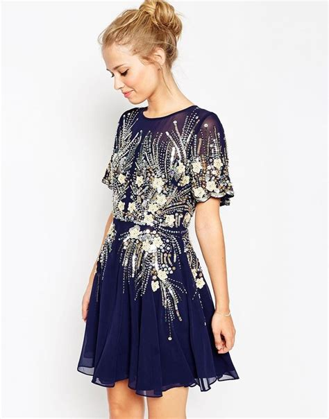 Gold Dresses Make Holidays Nicer by Asos Gold And Navy Sparkle Mesh Skater Dress This Would