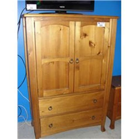 2pc solid pine bedroom set armoire dresser and 2 drawer