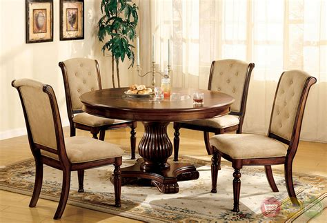 Circle Dining Table Set Majesta I Walnut Casual Dining Set With Built In Marble Lazy Susan Cm3560