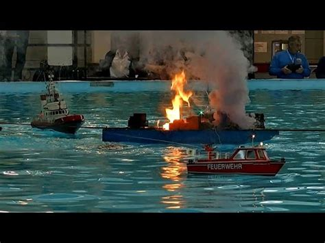 rc boats exploding fire explosion on the water many rc scale model ships