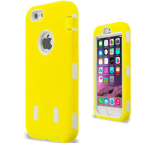 for iphone 6 4 7 hybrid cover with built in screen protector yellow white