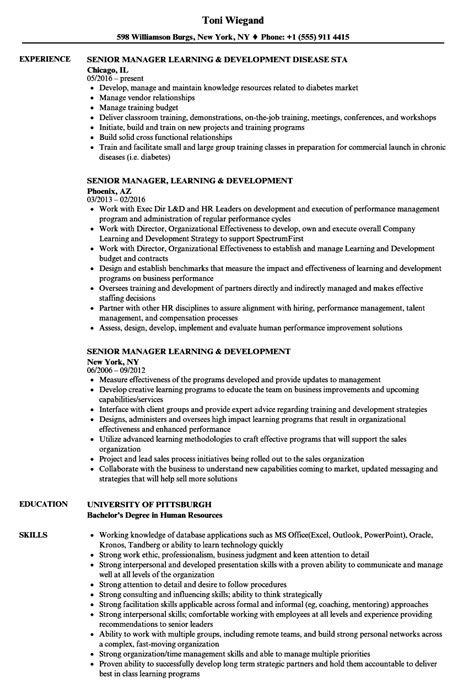 learning and development manager resume exles senior manager learning development resume sles