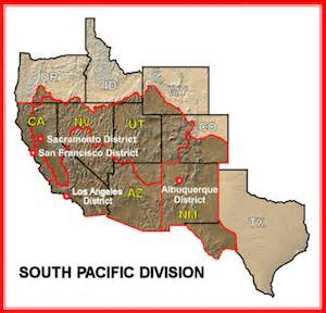 us army regions map about the south pacific division