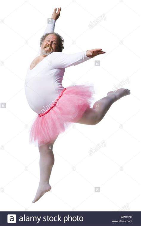 how to dance for your man in the bedroom overweight man in ballerina tutu smiling and dancing stock