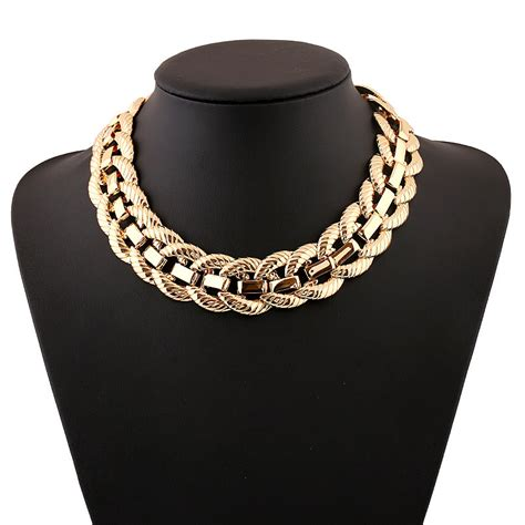 metallic necklace exaggerated metallic big chunky necklace new