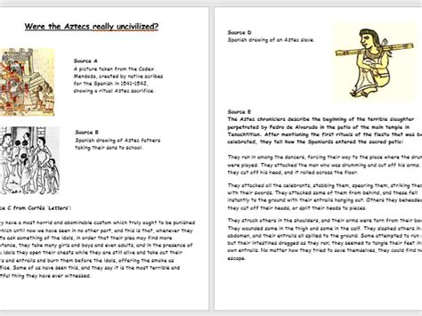 Aztec Worksheets aztec source analysis worksheets 3 pages by history geek